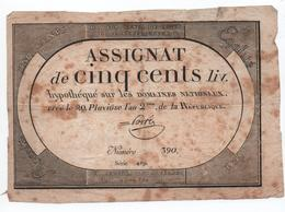 ASSIGNAT DE CINQ CENTS LIVRES - 20 PLUVIOSE AN 2 DE LA REPUBLIQUE - Assignats