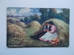 "OILETTE "" Country Courtships"" - When Shall It Be ?  Verliefd Koppel In Het Hooi ! - Peintures & Tableaux"