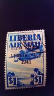 Liberia 1941 Avion Airplane Surchargé Overprint First Flight Liberia - U.S.Yvert PA31 O Used - Liberia