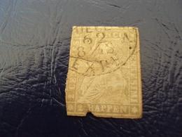 """1854 - Helvétia Non Dentelé N°25 - Papier épais -oblitéré - """" 2 Rappen Bistre   """" Filet Vert   Cote  500    Net  50 - Gebruikt"""