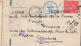AUSTRALIE : 1 Penny / Cp(.) Ss Fin LAUNCESTON / 9.11.1915 / TASMANIA-> Geneve / SUIISE + Censure Et Griffe : PASSED + TA - 1913-36 George V: Heads