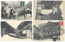 4 CPA  Cauterets -  Place St-MArtin, Cascade Du Pont D'Espagne, Tramway, ânes ....   ( S 3117 ) - Cauterets