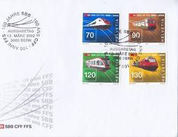 Schweiz Suisse 2002: 100 Jahre SBB Zu 1047-50 Mi 1778-81 Yv 1703-6 FDC O BERN 12.MÄRZ 2002 (Zu CHF 11.00) - Trains