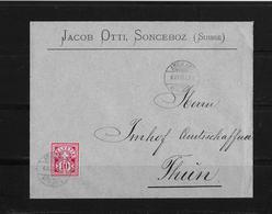 HEIMAT BERN → Brief Jacob Otti, Sonceboz Nach Thun 1893 - Covers & Documents