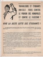 TRACT  6 MAI 1968 DU PARTI COMMUNISTE MARXISTE LENINISTE B491 - Documents Historiques