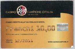 CARTA CASINO CAMPIONE D'ITALIA 12/2013 (A10.8 - Carte Di Casinò