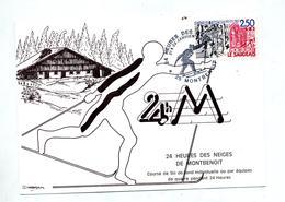 Carte Cachet Montbenoit 24 Heures De La Neige Theme Ski - Cachets Commémoratifs