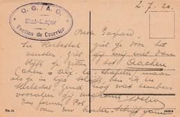 """Kaart (Köln) 2.7.20 Met """"Q.G./A.O. - Etat Major * Section Du Courier *"""". - Guerre 14-18"""