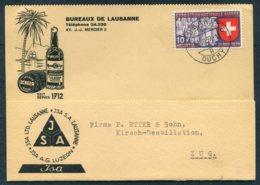 1939 Switzerland Bureaux De Lausanne Typewriter Business Postcard. JSA Scheer Alcohol Illustrated Advertising Card - Switzerland