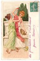 Carte Raphaël Tuck Illustrée De 2 Jeunes Filles En Chiton Style Grèce Antique Carte Précurseur - Illustrateurs & Photographes