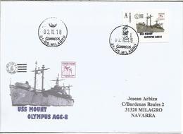 ANTARTIDA OPERACIÓN HIGHJUMP BARCO USS MOUNT OLYMPUS EN TUSELLO TU SELLO CIRCULADO EN SOBRE - Filatelia Polar