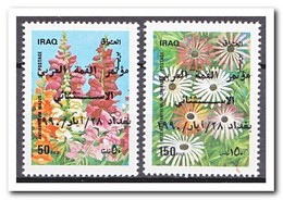 Irak 1990, Postfris MNH, Flowers With Overprint - Irak