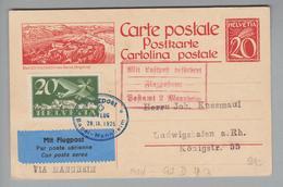 Schweiz Flugpost 1925-09-28 Basel-Mannheim Auf 20Rp. Bildpostkarte Nach Ludwigshafen - Altri Documenti