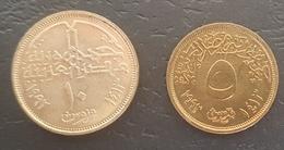 HX - Egypt 1993 Coin 10 Piastres UNC/A-UNC & 1993 Coin 5 Piastres UNC/A-UNC - Egypt