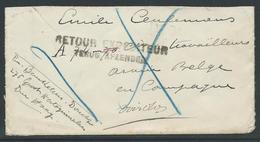 """Briefstuk """"Armée Belge En Campagne"""" Terug Afzender - Guerra 14 – 18"""