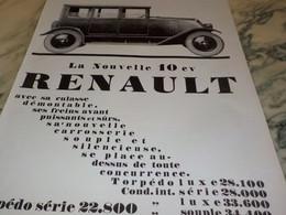 ANCIENNE PUBLICITE VOITURE LA NOUVELLE 10 CV   RENAULT 1926 - Cars