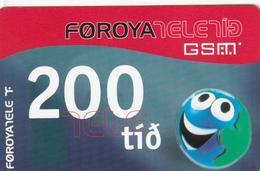FAROE ISLANDS - Funny 'Face' 200 , 200 Kr,  Teletid, Expire Date 01/06/2005 , Used - Faroe Islands