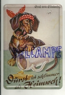 Metal Card. Gruss  Oktoberfest. Teckel Qui Pleure Et Bock De Bière Renversé - Cartes Postales