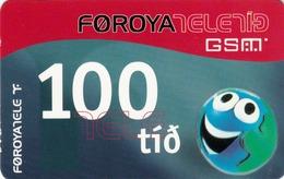 FAROE ISLANDS - Funny 'Face' 200 , 100 Kr,  Teletid, Expire Date 01/11/2005 , Used - Faroe Islands