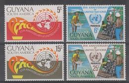 SERIE NEUVE DU GUYANA - 25E ANNIVERSAIRE DE L'O.N.U. N° Y&T 357 A 360 - ONU