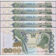 TWN - SÃO TOMÉ E PRÍNCIPE 66d  - 10000 10.000 Dobras 31.12.2013 DEALERS LOT X 5 - Prefix BA UNC - San Tomé E Principe