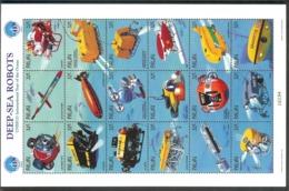 PALAU  Deer Sea Robots  Sheetlet Of 18 Stamps   MNH - Ships