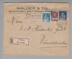 Schweiz Privatganzsache 1922-03-03 R-Brief 15Rp.Tellbrust, 25Rp.Helv.m.S. Eindruck +40Rp.Helv.m.Schw. - Entiers Postaux