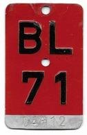 Velonummer Basel-Land BL 71 - Plaques D'immatriculation