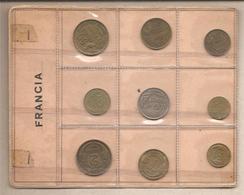 Francia - Vecchio Souvenir Sheet Con 9 Monete  Differenti - France