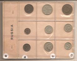URSS - Vecchio Souvenir Sheet Con 9 Monete Differenti - Russia