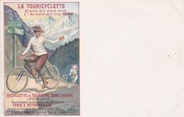 """CPA Publicitaire Publicité La """"TOURICYCLETTE""""  Vélo Bicyclette Cycling Radsport 2 Roues Illustrateur (2 Scans) - Publicité"""