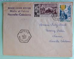 19970# LETTRE 1ere LIAISON AERIENNE WALLIS ET FUTUNA NOUVELLE CALEDONIE Obl MATA UTU 4 MARS 1957 Pour NOUMEA - Wallis Und Futuna