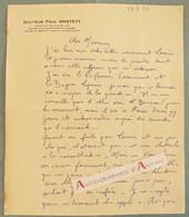 L.A.S 1933 Docteur Paul ANSTETT Médecin - Lettre Autographe - LAS - Médecine - Cavaillon Apt Manosque - Autographes