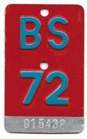 Velonummer Basel Stadt BS 72 - Plaques D'immatriculation