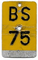 Velonummer Mofanummer Basel Stadt BS 75 - Plaques D'immatriculation