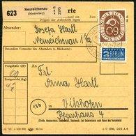 BUND 1953, PAKETKARTE MIT EINZELFRANKATUR 60 Pf. POSTHORN AUS NEUREICHENAU - [7] République Fédérale