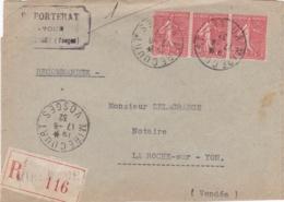 Semeuse 50c Rouge En Bande De 3 Sur Recommandé De 1932 Pour La Roche Sur Yon - Marcophilie (Lettres)