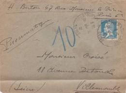 Pasteur 1f30 Bleu Sur Pneumatique De St Ouen Sur Seine De 1927 - Postmark Collection (Covers)