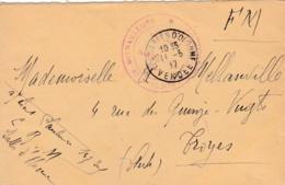 Cachet Centre D'Instruction De Mitrailleurs Les Sables D'Olonne Le Vaguemestre Sur Lettre De1917 - WW I