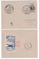 1947 - VIGNETTE AVIATION JOURNÉE DU TIMBRE TUNIS AEROGARE AQUINA Sur ENVELOPPE LOUVOIS TAXE POSTE RESTANTE TUNISIE - Covers & Documents