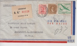 Uraguy Airmail Cover, Stamps Aircraft , World War II Censorship, (A-128) - Uruguay