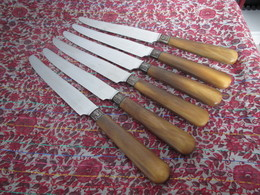 Couteau Art Nouveau Années 30 6 Couteaux Marqués IMISOR Manches Corne Lame Inox TBE Couverts - Knives