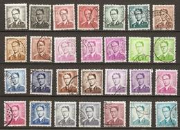 Belgique 195? - Baudouin Type Marchand - Petit Lot De 28 Timbres °  Avec Nuances - Cachets Ronds - 1953-1972 Lunettes