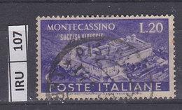ITALIA REPUBBLICA, 1951Ricostruzione Montecassino L. 20 Usato - 1946-60: Used