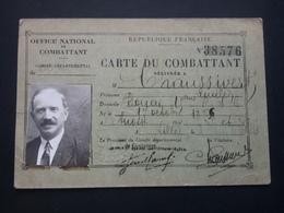 2 Cartes De Combattant  Année 1929 Et 1934 - Dokumente