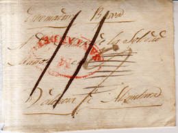 Prefilatelia Año 1835 Aprox  8 Envuelta  Santander A Valencia De Alcantara  Marca M Santander  Y Porteo Escrito 11 - Espagne
