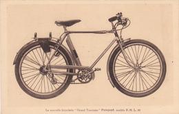 """CPA Publicitaire Publicité Nouvelle Bicyclette PEUGEOT """"Grand Tourisme"""" Vélo Cyclisme Cycling Radsport  (2 Scans) - Advertising"""