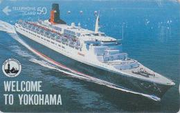 Télécarte Japon / 110-011 - BATEAU - FERRY QUEEN ELIZABETH In Yokohama - SHIP Japan Phonecard - SCHIFF TK - 706 - Bateaux