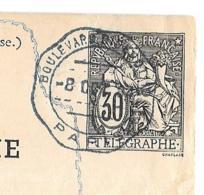 ENTIER   CARTE TELEGRAMME..  30CTS NOIR ..CACHET BLEU BOULEVARD DIDEROT.OCTOBRE 1884.  TBE ... - Pneumatiques