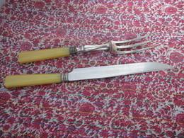 Très Beau Service à Découper Les Viandes Années 40 Lame Inox Bagues Argentées  Couteau Fourchette - Couteaux